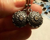 Antique Silver Rhinestone Earrings