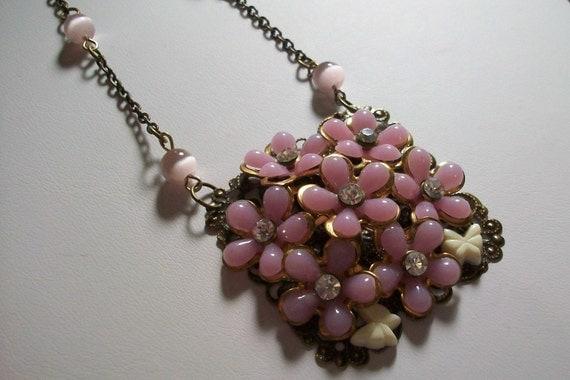 SALE Vintage Upcycled Lavender Flower Bouquet Necklace