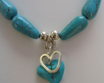 Turqoise Heart Pendant Necklace