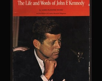 The Life and Words of John F. Kennedy by James Playstid Wood 1966 Vintage Paperback Book and Postcard