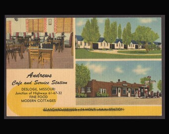 2 Fun Vintage Linen  Motel Advertising Postcards Andrews Cafe and Purple Heart Motor Court