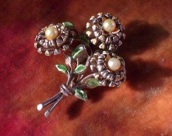 Gold Enamel and Pearl Flower Brooch Pin Vintage Antique
