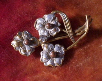 Petite Old Gold Enamel Floral and Rhinestone Brooch Pin Vintage Antique