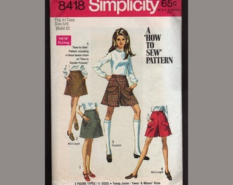 Vintage Simplicity Pattern Teen skirt and mini pant skirt 1969