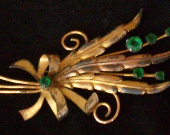 Shabby Chic Gold and Emerald  Floral Spray Brooch Vintage Antique