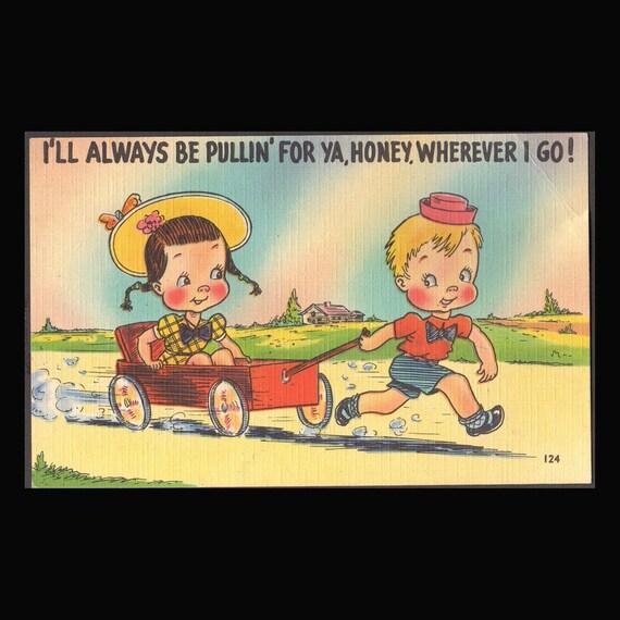 2 Vintage  comic linen Post Cards 40's