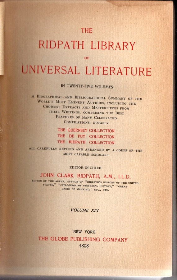 The Ridpath Library of Universal Literature Vol XIX   First Edition