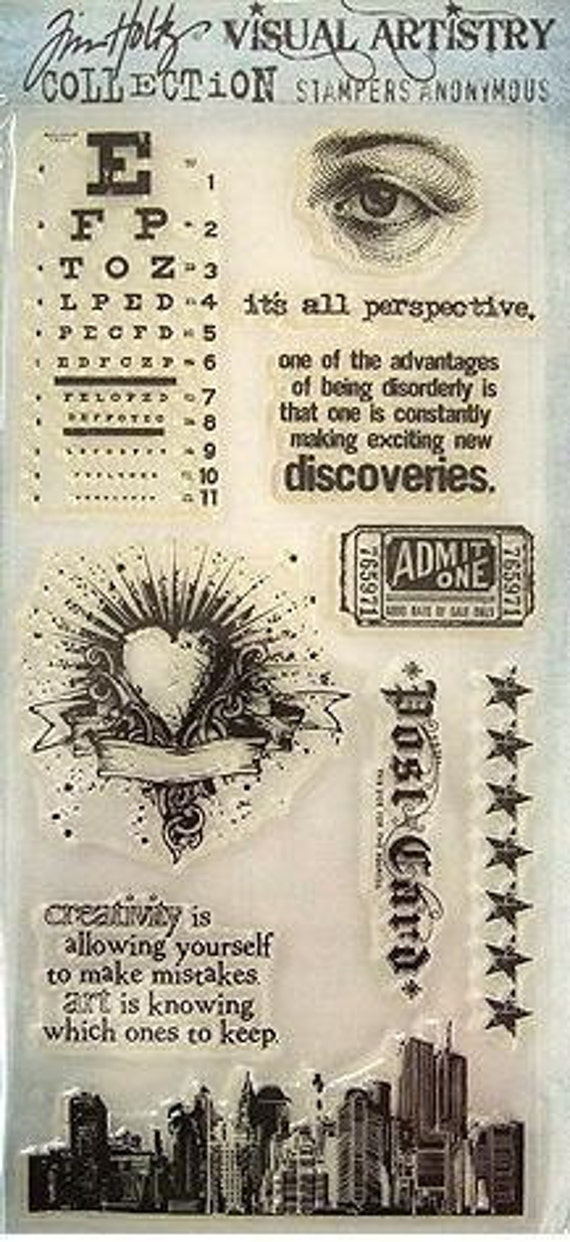 Tim Holtz Clear Stamp set, Visual Artistry -- City Central (free shipping)