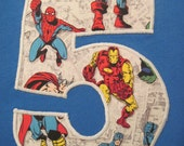 Pick Your SuperHero Appliqued initial or Birthday Number sslv shirt