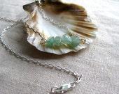 Aventurine Necklace- Sterling Silver- Gemstone Nugget