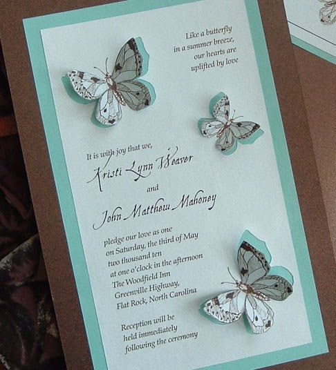 Butterfly Themed Wedding Invitations: Teal And Chocolate Brown Butterfly Wedding Invitation Set