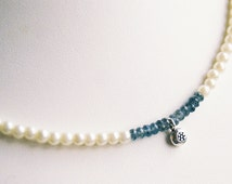 Necklace - Tiny Silver Flower with Moss Aquamarine and Glass Pearls