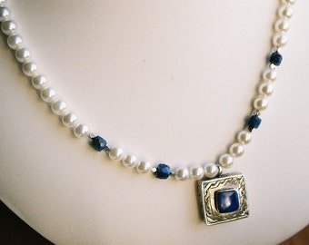 Necklace - Lapis Lazuli In Sterling Pendant, Lapis, Glass Pearls and Silver