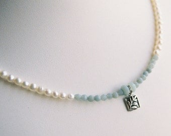 Necklace - Pewter Leaf Charm, Pale Green Amazonite, Freshwater Pearls