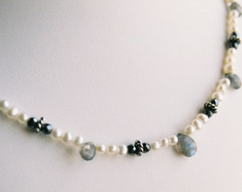 Necklace - Labrodorite Briolettes, Freshwater Pearls, Silver