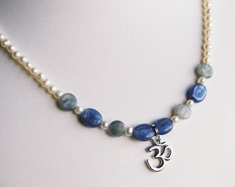 Necklace - Pewter Om Symbol Charm, Blue and Green Kyanite and Freshwater Pearls