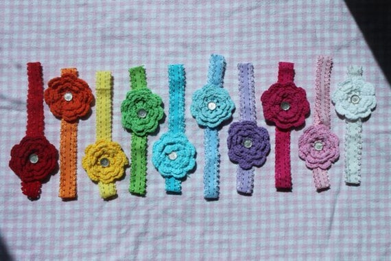 10 crocheted flower small lace stretch baby girl todller headband newborn vintage colorful new