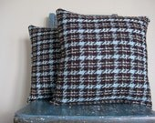 Reservation for Stacy P:  2 KitchStitch Pillows - Blue and Brown Houndstooth