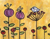 Galilee Wildflowers || folkloric naive acrylic CANVAS print