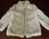 Sale Previously 200.00 Vintage  80's  Genuine Blue Fox Fur  Saga Coat Jacket  Size Small Medium