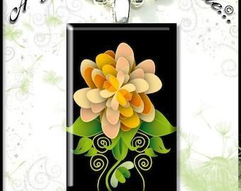 Orange Flower on Black on Rummikub Tile