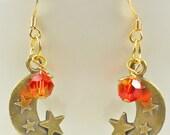 Harvest Moon and stars earrings, orange moon earrings, like vampire earrings, retro styles