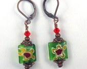 Millifiore Square earrings with green, red and gold colors and copper metal, holiday earrings, christmas earring, fall colors, green earring