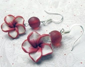 Red and white Magnolia flower and frosted bead earrings