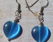 Blue Cats Eye Puff Heart earrings valentines day mothers day and more