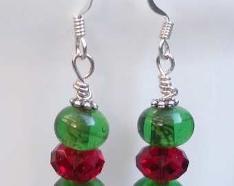 Green and Red Candy Drop earrings for Chrstmas
