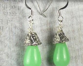 Lime Green Glass Tear Drop Earrings