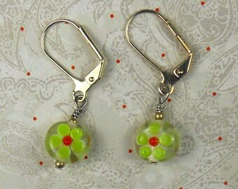 Green Daisy Millifiore round earring