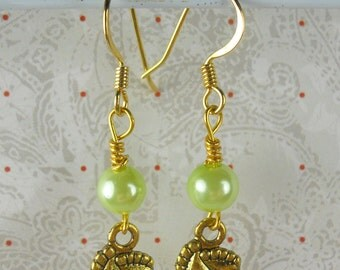 Baby Feet and green pearls earrings