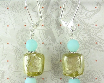 Aqua frosted beads with yellow foil cube-like earrings