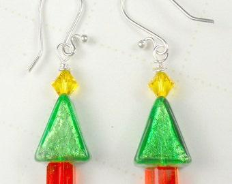 Christmas Tree with Murano Italian bead and crystal earrings