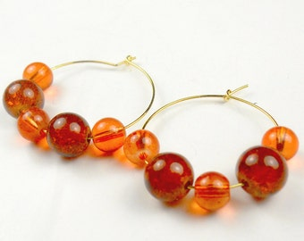 Colors of Fall Hoop Earrings in gold or silver orange glass halloween thanksgiving