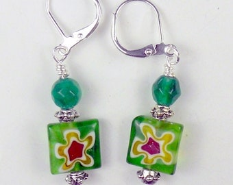 Millifiore Square earrings with red, green and gold colors