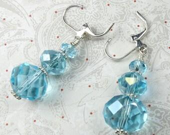 Aqua Czech Faceted glass triple drop rondel earrings