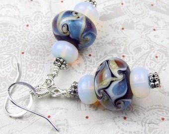 Opalite and Lampwork Bead Dangle earrings, opalite earrings, holiday earrings dangles lampwork style vintage like retro boho