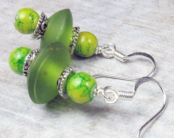 Green Glass Saucer bead with multi color bead earrings