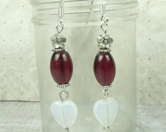 Opalite Hearts with purple glass oval earrings and silver daisy bead