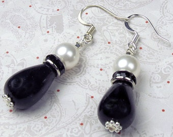 Black Onxy TearDrop with White Glass Pearl and crystal rondel earrings, holiday earrings, tear drop earrings, black and white