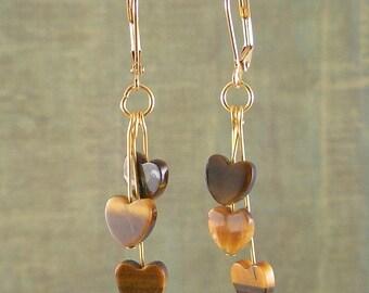 Tiger Eye Triple heart dangle earrings, holiday earrings, tiger eye beads, heart earrings
