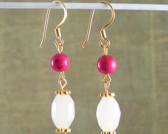 Pink Fossil bead wth White frosted white cut glass Earrings