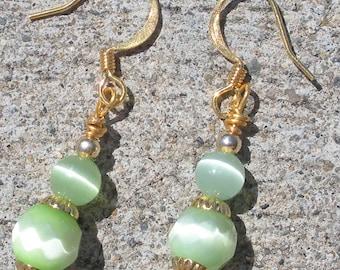 cats eye duo color light green earrings, holiday earrings, christmas earrings, st patricks day, gold earrings