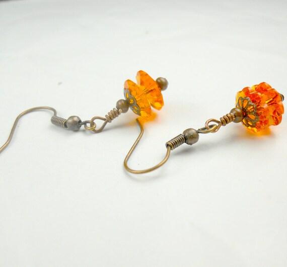 Orange Pumpkin in swarovski crystal earrings, halloween earrings, pumpkins, crystal earrings, holiday earrings, orange earrings, copper