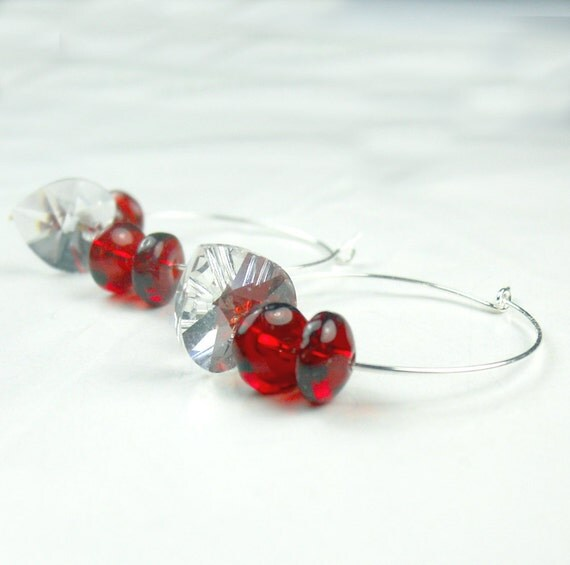 Swarovski Crystal Heart Hoop earrings w-red glass rondels Valentines