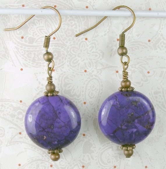 Purple Magnesite Coin earrings, purple earrings, easter colors, holidays