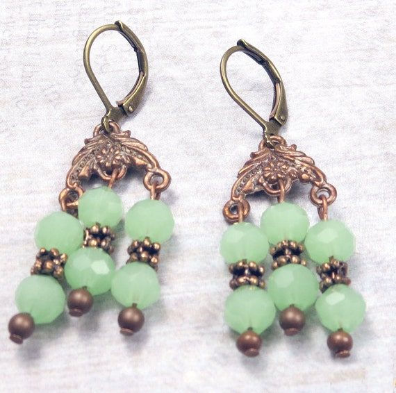 Chandelier Earrings with green faceted glass beads and copper metal, green dangle earrings