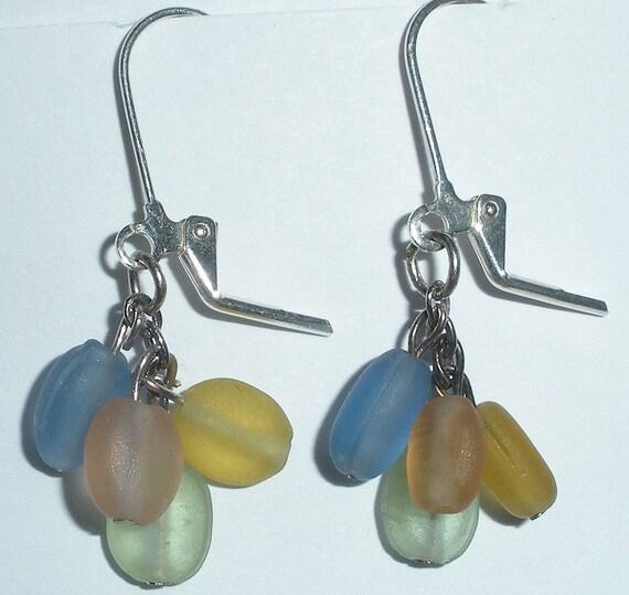 Pastel frosted glass dangle earrings